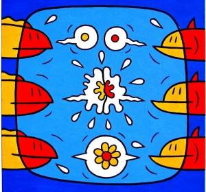floraison sur fond bleu