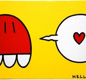 amour rouge sur fond jaune