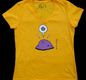 Tee-shirt Têtes jaune - coupe femme